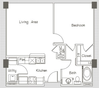 1,301 sq. ft. P17 floor plan