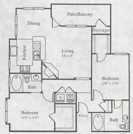 1,070 sq. ft. B-2 floor plan