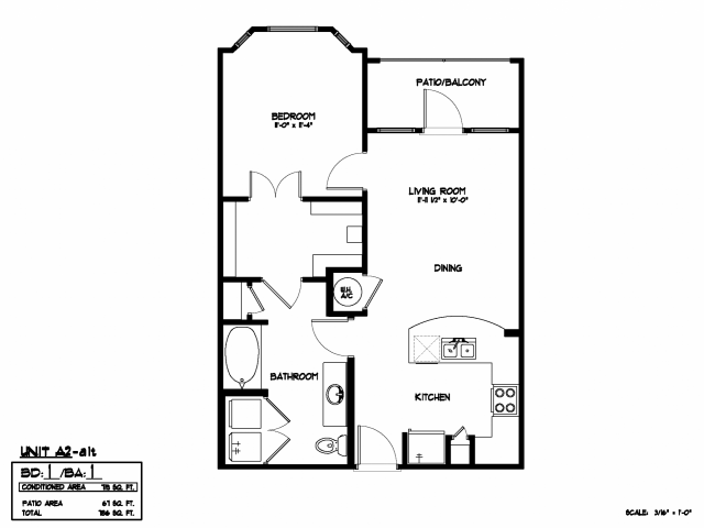 719 sq. ft. A2A floor plan