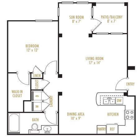 750 sq. ft. Chalet floor plan