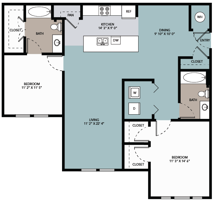 1,181 sq. ft. 2B floor plan