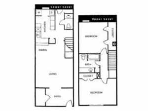 1,150 sq. ft. K floor plan