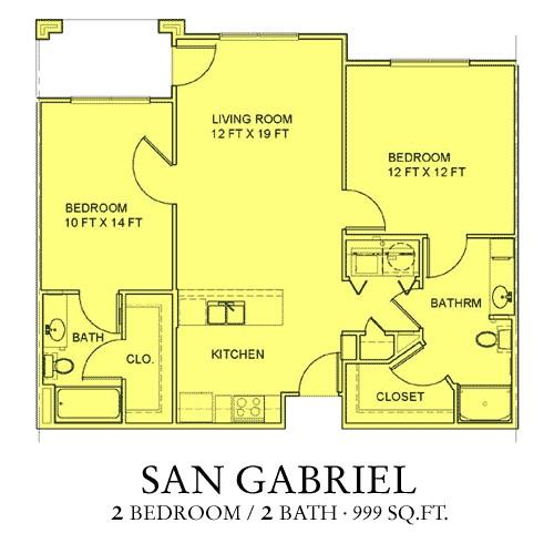 999 sq. ft. San Gabriel floor plan
