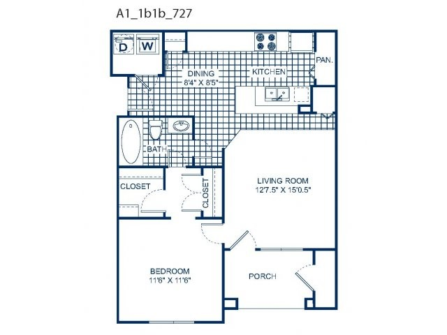 727 sq. ft. A1 (2nd) floor plan