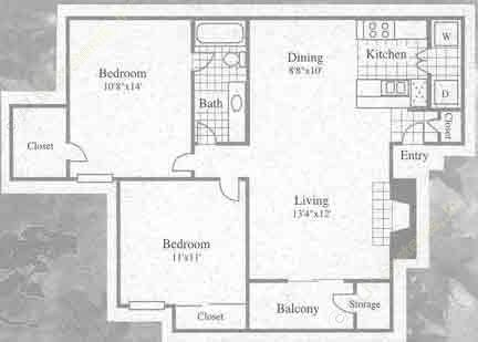 848 sq. ft. I floor plan