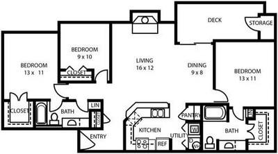 1,290 sq. ft. C1 floor plan