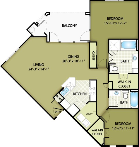 1,296 sq. ft. DIOR floor plan