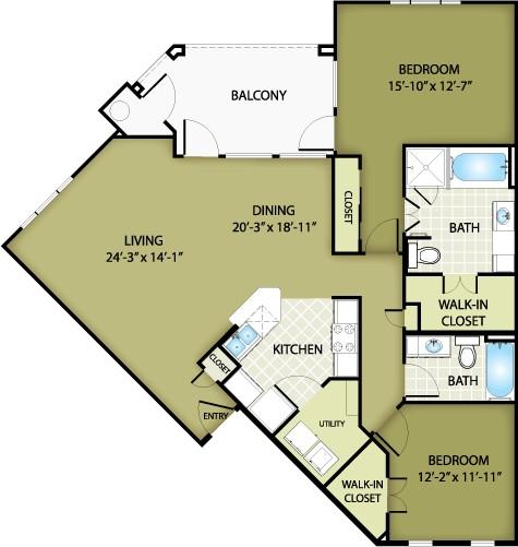 1,296 sq. ft. DIOR floor plan