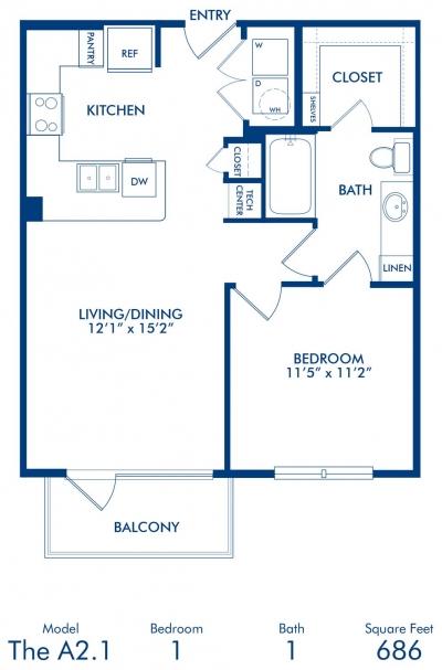 686 sq. ft. A2.1 floor plan