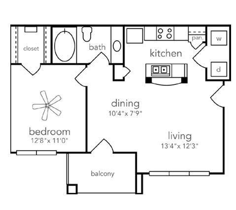 660 sq. ft. Alamo floor plan