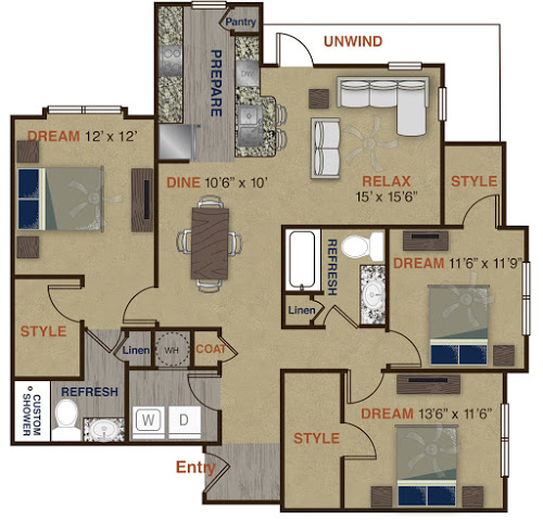 1,515 sq. ft. C1 floor plan