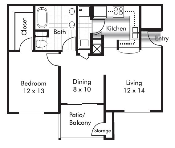 757 sq. ft. Timberidge floor plan