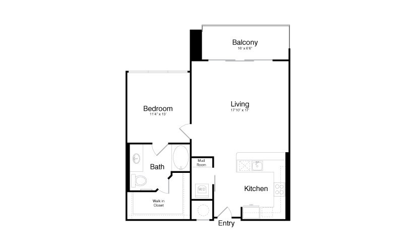 899 sq. ft. A8A floor plan