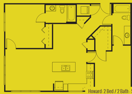 1,050 sq. ft. Howard floor plan