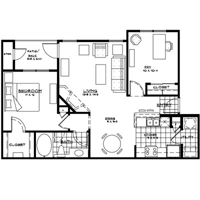 895 sq. ft. PALERMO floor plan