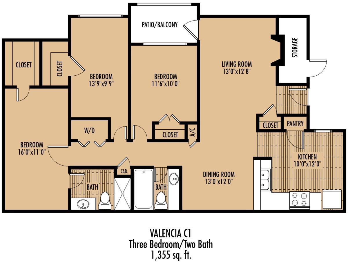 1,355 sq. ft. B3 floor plan