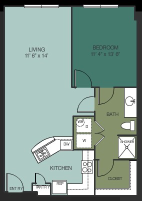821 sq. ft. Abilene floor plan