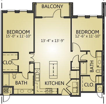 1,205 sq. ft. to 1,239 sq. ft. B1 floor plan