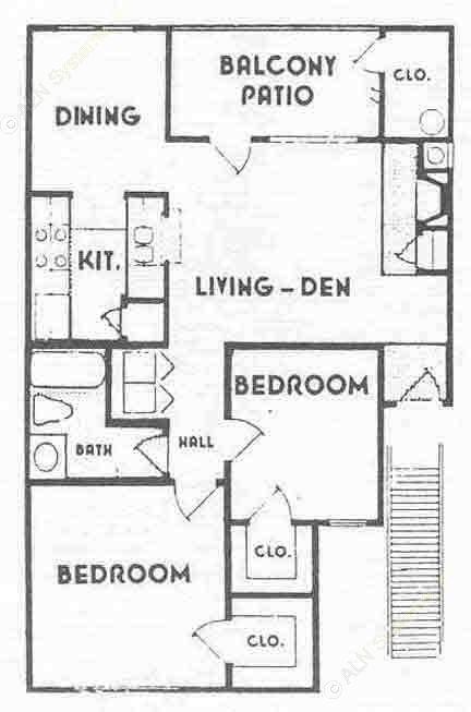 800 sq. ft. B1 floor plan