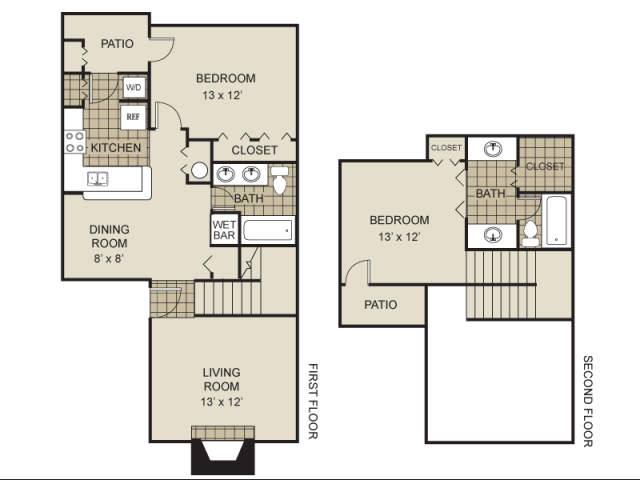 992 sq. ft. B6-A floor plan