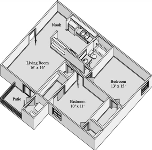 864 sq. ft. CLARENDON floor plan