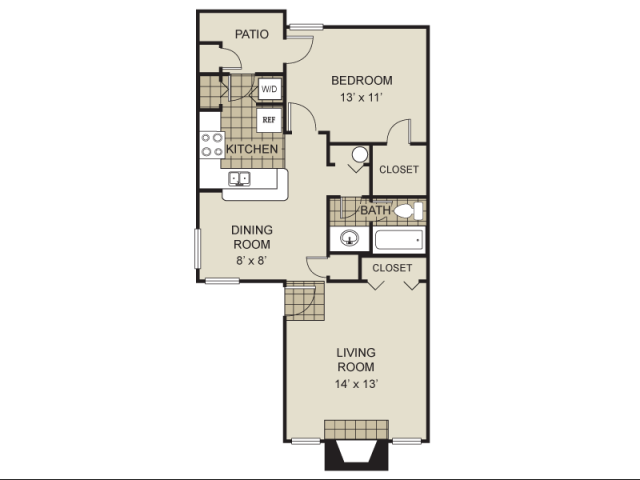 754 sq. ft. A5-B floor plan