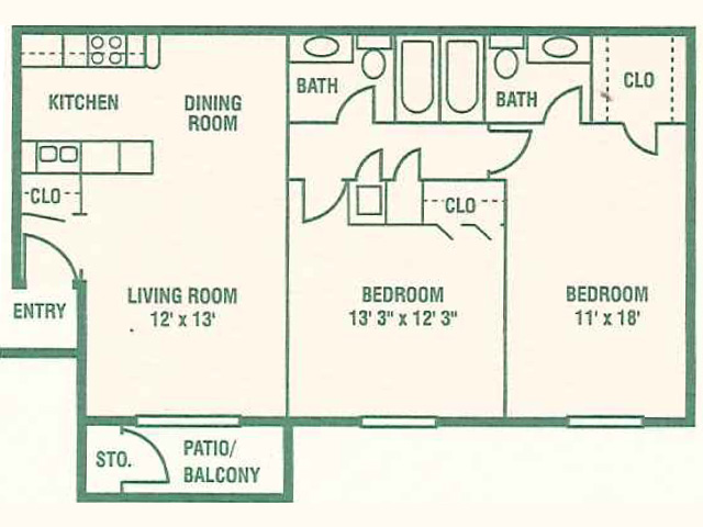 972 sq. ft. 60% floor plan