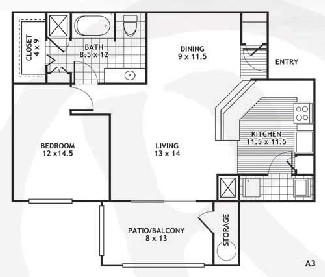 840 sq. ft. A3/El Paso floor plan