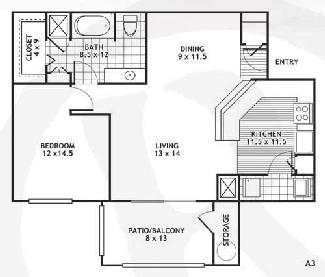 840 sq. ft. A3/EL PASO floor plan