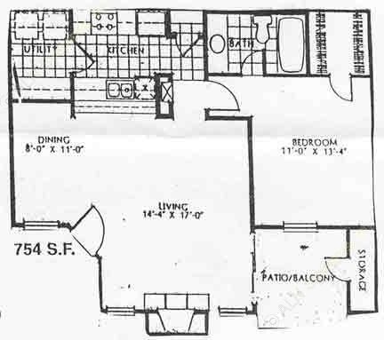 754 sq. ft. A2/60% floor plan