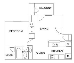 550 sq. ft. A3 floor plan