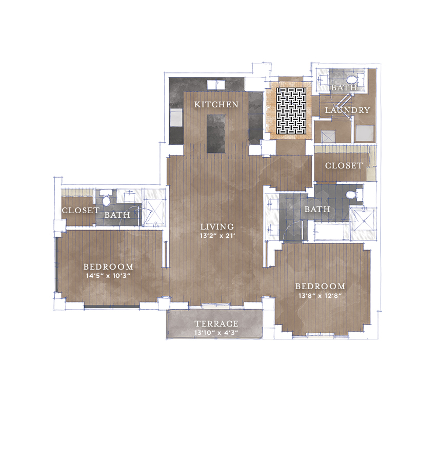 1,360 sq. ft. B6 floor plan