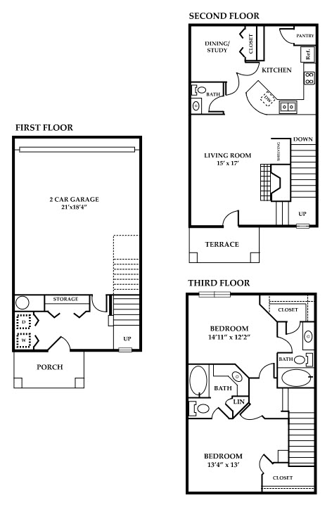 1,385 sq. ft. Maple floor plan