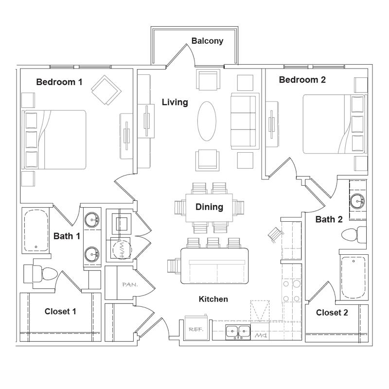 1,134 sq. ft. to 1,136 sq. ft. Marathon floor plan
