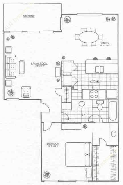 890 sq. ft. A4 floor plan