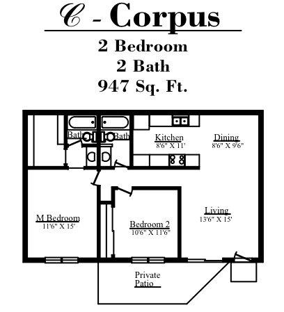 947 sq. ft. C floor plan
