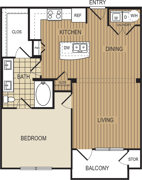 788 sq. ft. A4c floor plan