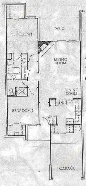 1,068 sq. ft. B2- TH floor plan