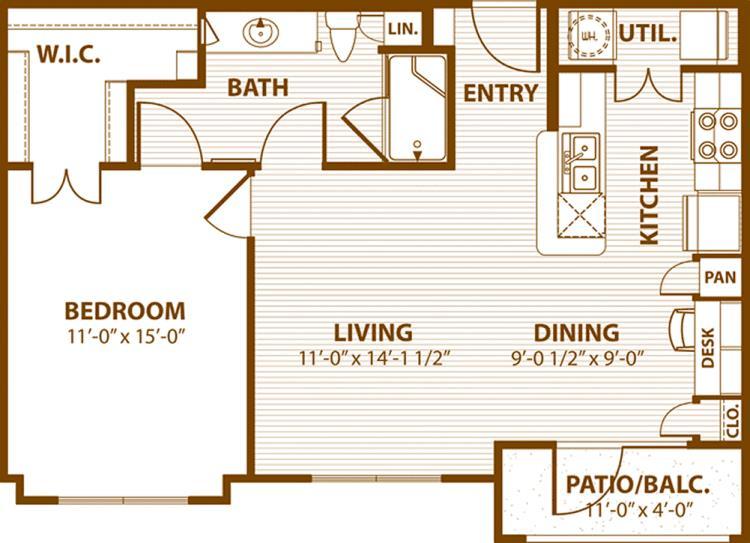 744 sq. ft. B1/50% floor plan