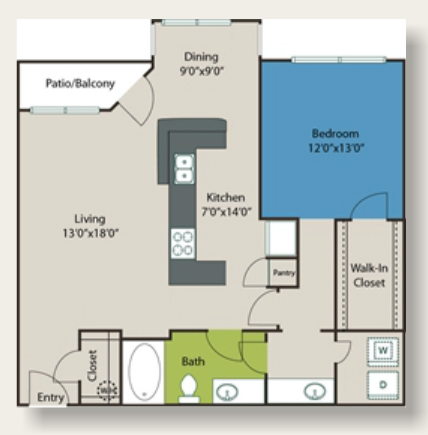 1,040 sq. ft. C4 floor plan