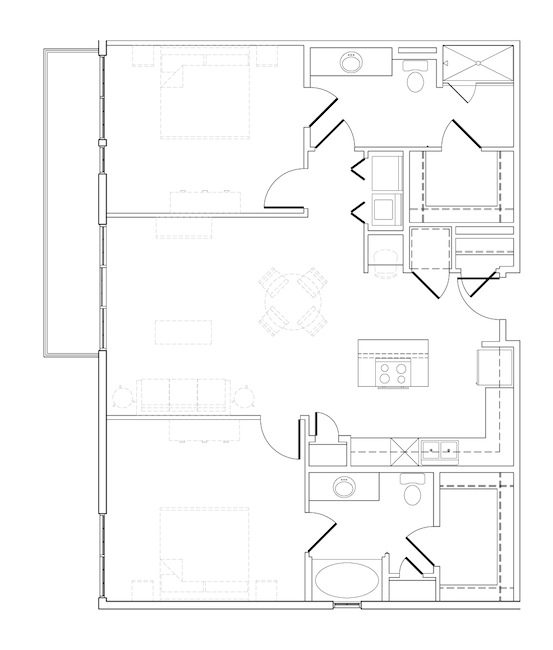 1,214 sq. ft. T-Bone floor plan
