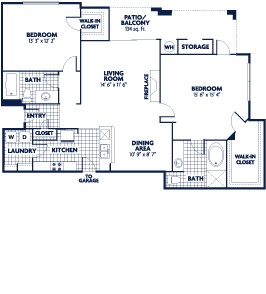 1,243 sq. ft. Drake floor plan