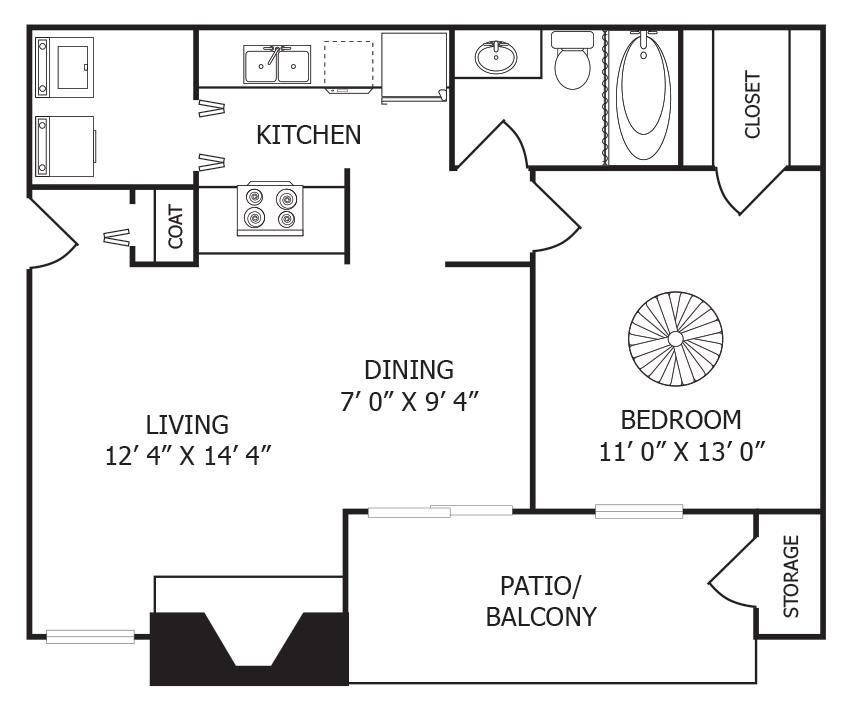 667 sq. ft. A3 floor plan
