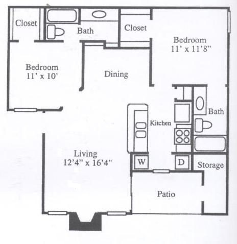 900 sq. ft. B1A floor plan