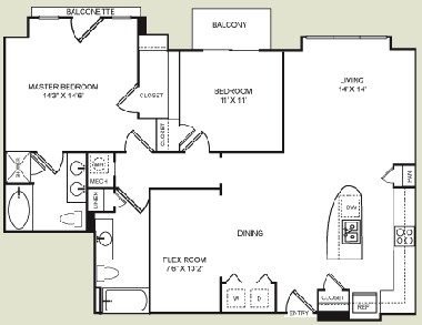 1,291 sq. ft. B3 floor plan