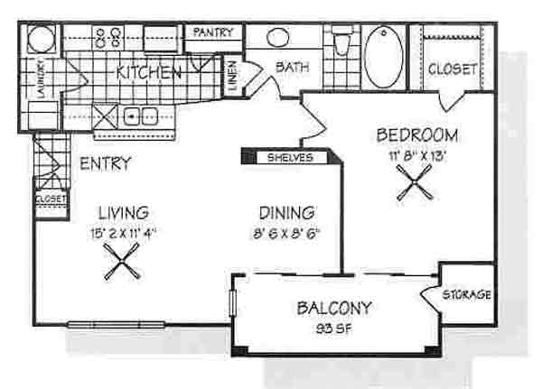 785 sq. ft. A3 floor plan