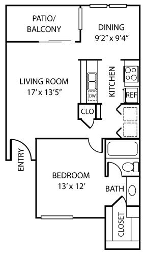 759 sq. ft. A1 floor plan