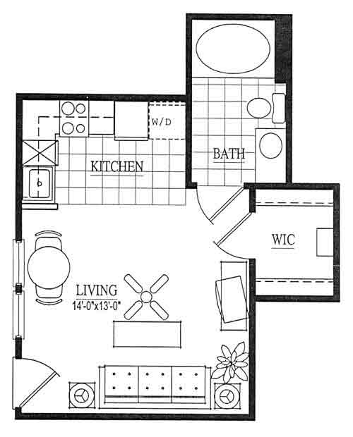 356 sq. ft. EFF floor plan
