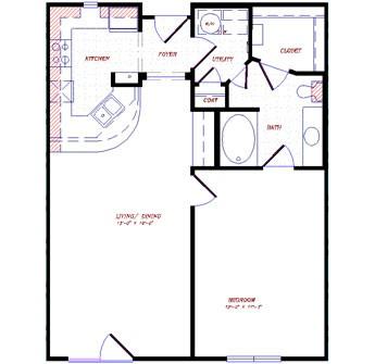 853 sq. ft. floor plan