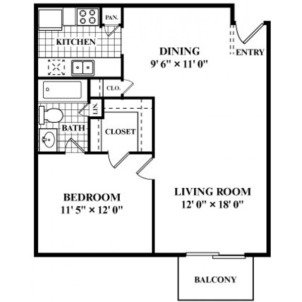 670 sq. ft. to 703 sq. ft. B floor plan